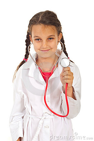Free Future Doctor Girl With Stethoscope Royalty Free Stock Images - 20058039