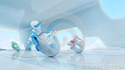 Future motobike riders team in hi-tech interior.