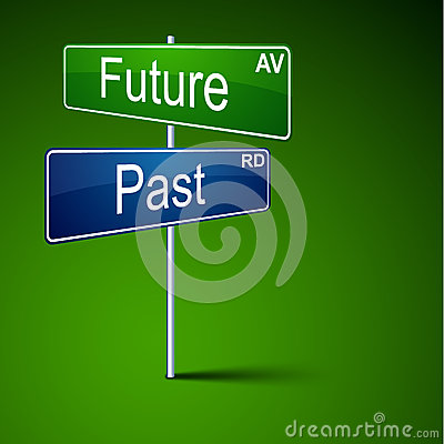 Future past direction road sign.