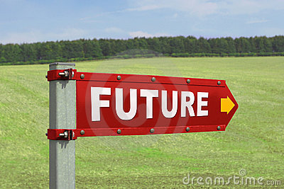 The Future Road Sign Pointing