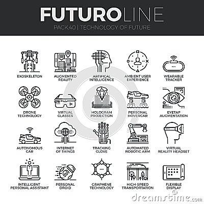 Free Future Technology Futuro Line Icons Set Royalty Free Stock Photos - 66709288