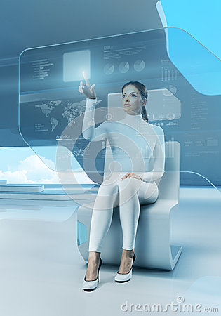 Free Future Technology. Girl Press Button Touchscreen Interface. Royalty Free Stock Photo - 29771965