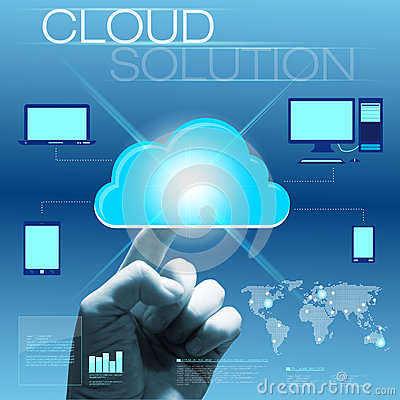 Future touchscreen interface with hand - cloud solution concept Stock Photo