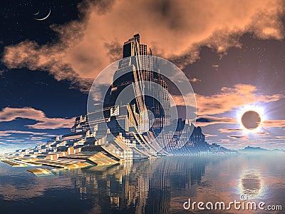 Futuristic Alien City at Lunar Eclipse