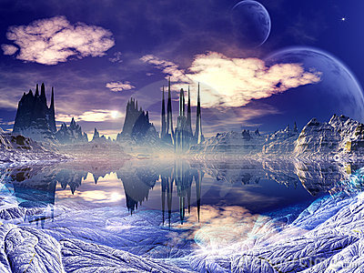 Futuristic Alien City in Winter Landscape