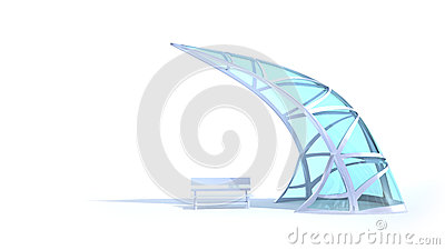 Futuristic arch and bench