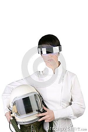 Futuristic astronaut helmet woman