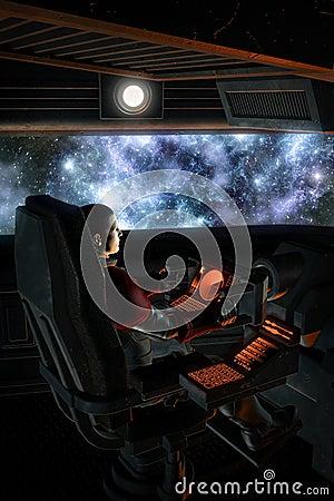 Free Futuristic Astronaut Pilot And Starfield Nebula Stock Photography - 42165682