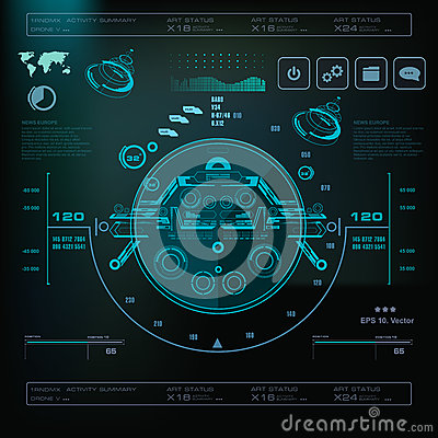 Free Futuristic Blue Virtual Graphic Touch User Interface, Music Interface, Tracks, Volume Controls Stock Photography - 91398242