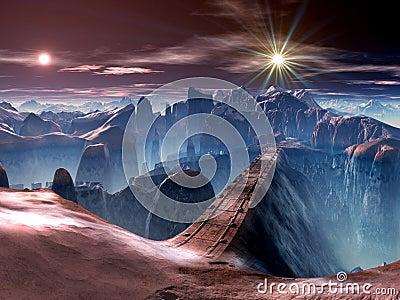 Futuristic Bridge over Ravine on Alien World