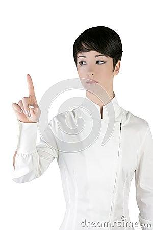 Futuristic businesswoman finger touching pad