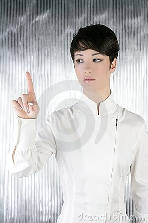 Futuristic businesswoman finger touching pad