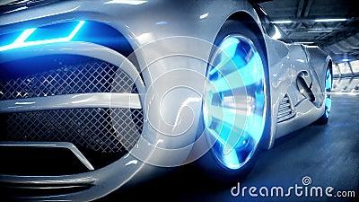 Futuristic car fast driving in sci fi tunnel, coridor. Concept of future. Realistic 4k animation. stock footage