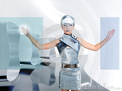 Futuristic children girl touch finger screen