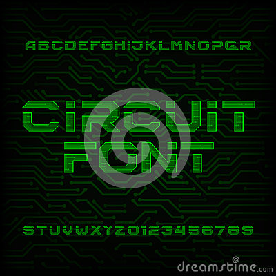 Futuristic Circuit Board Alphabet Vector Font. Type Letters And ...