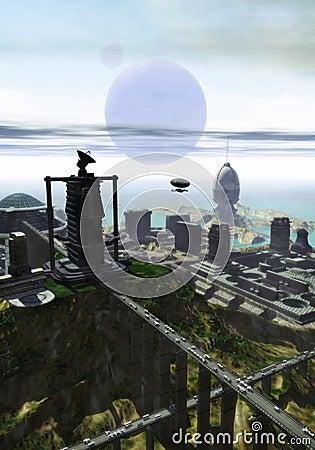 Futuristic city on the sea