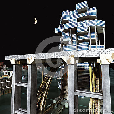 Free Futuristic City With The Modern Skyscraper 3D Rendering Royalty Free Stock Photo - 94511305