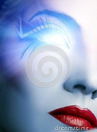 Futuristic cyber face