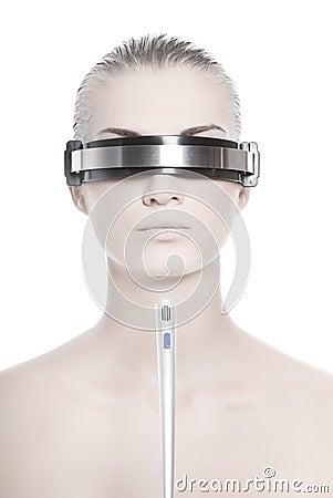 Futuristic cyber online operator