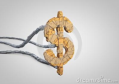 Futuristic dollar symbol