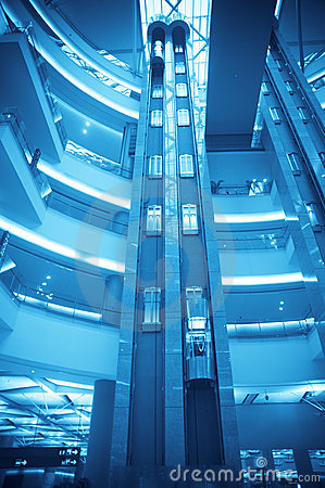 Futuristic elevator in the modern building
