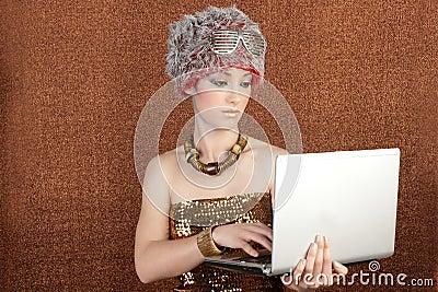 Futuristic fashion student businesswoman laptop