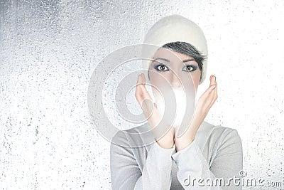 Futuristic fortune teller woman light glass sphere