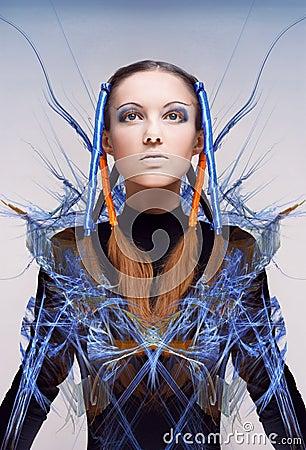 Free Futuristic Girl With Blue And Orange Energy Flows Stock Photos - 16096923