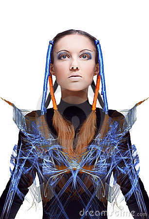 Free Futuristic Girl With Blue And Orange Energy Flows Royalty Free Stock Photos - 16096948