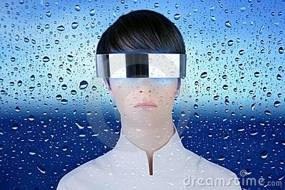 Futuristic glasses woman behind dropsoing glass