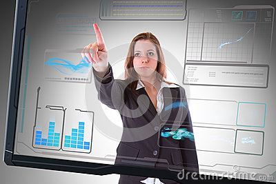 Futuristic interface screen touching by business woman