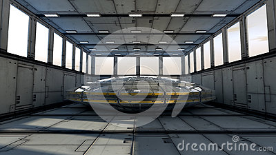 Futuristic interior and UFO