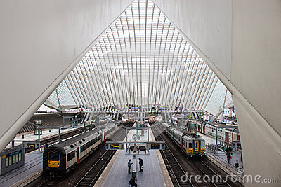 Futuristic Liege-Guillemins railway station Editorial Stock Image