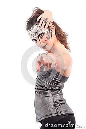 Futuristic looking woman calling you