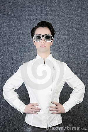 Futuristic modern businesswoman steel glasses