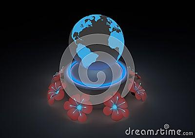 Futuristic planet scene