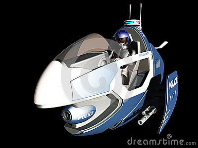 Futuristic police patrol vehicle