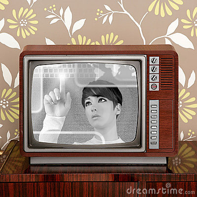 Futuristic retro contrast vintage tv future woman