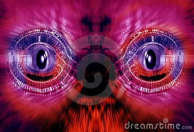 Futuristic robot face in red