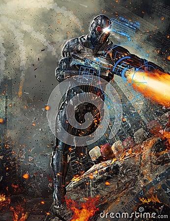 Futuristic robot soldier