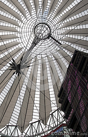 Futuristic roof at Sony Center, Potsdamer Platz, Berlin, Germany.