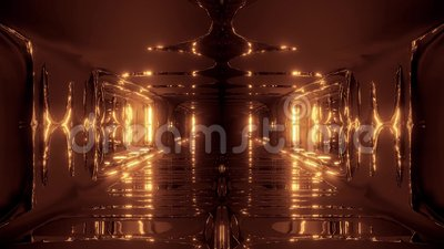 Futuristic scifi fantasy alien hangar tunnel corridor 3d illustration with glass bottom and nice reflections live. Wallpaper motion background endless looping stock illustration