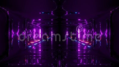 Futuristic scifi fantasy alien hangar tunnel corridor 3d illustration with glass bottom and nice reflections live. Wallpaper motion background endless looping vector illustration