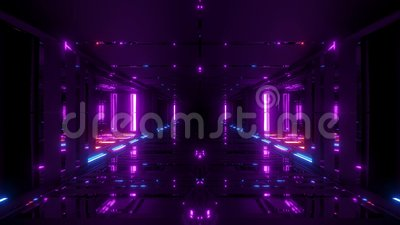 Futuristic scifi hangar tunnel corridor 3d illustration with glass bottom and nice reflections live wallpaper motion. Background endless looping club visual royalty free illustration