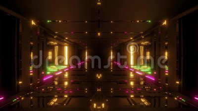 Futuristic scifi hangar tunnel corridor 3d illustration with glass bottom and nice reflections live wallpaper motion. Background endless looping club visual stock illustration