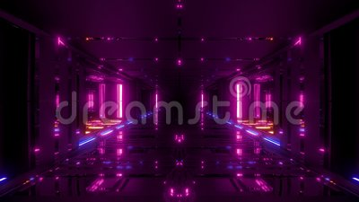 Futuristic scifi hangar tunnel corridor 3d illustration with glass bottom and nice reflections live wallpaper motion. Background endless looping club visual vector illustration
