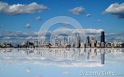 Futuristic Seattle Washington Skyline Abstract