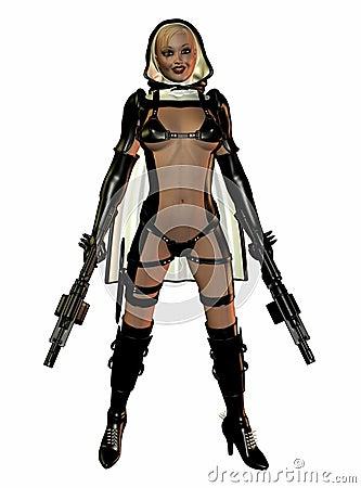 Futuristic sexy woman warrior