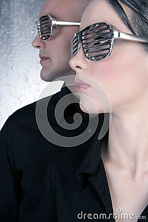 Futuristic silver glasses couple portrait profile