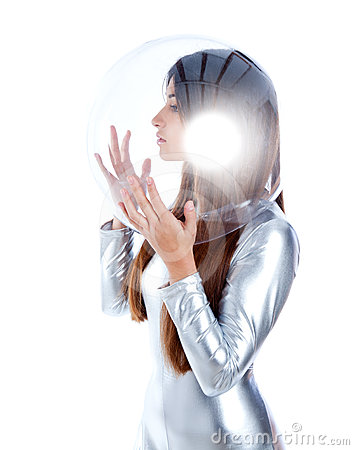 Free Futuristic Silver Woman Profile Glass Helmet Royalty Free Stock Photo - 24318665